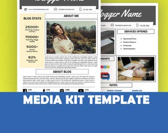 Media Kit Template, Mixed Media Kit Instant Download, AD Rate Sheet Template,  Blogger