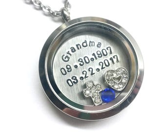 Memorial Necklace - Honoring the Loss a Loved One - In Memory Of A Special Date - Custom Hand Stamped Floating Charm Locket