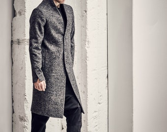 Minimalist Mens Coat / Grey Wool Coat / Mens Long Overcoat / Extravagant Mens Clothing / Tailored Mens Coat by POWHA