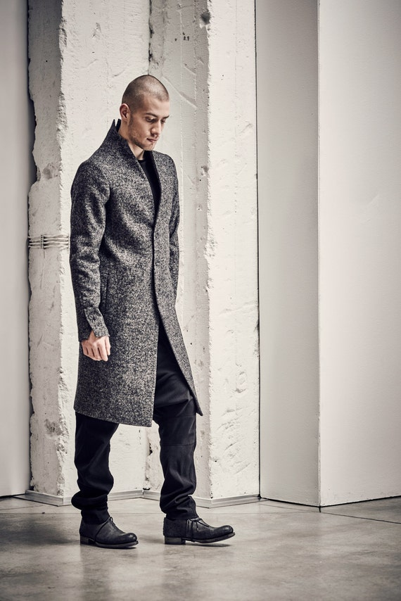 Minimalist Mens Coat / Grey Wool Coat / Mens Long Overcoat /