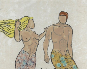 Beautiful Mermaid Couple Hand Painted Kiln Fired Decorative Ceramic Wall Art Tile 9 x 13