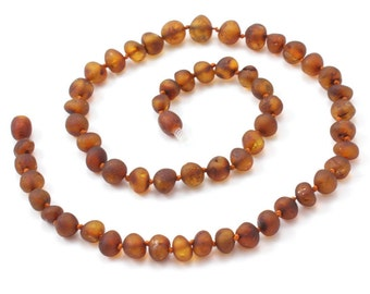 "Raw Amber Necklace for Adults, Raw Cognac, Available in 17.7-19.7"" (45-50 cm) Length, Made from Unpolished Baroque Baltic Amber Beads"