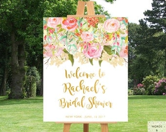 Bridal Shower Decorations, Bridal Shower Banner, Bridal Shower Sign, Floral Bridal Shower Decorations, Printable Bridal Shower, Download