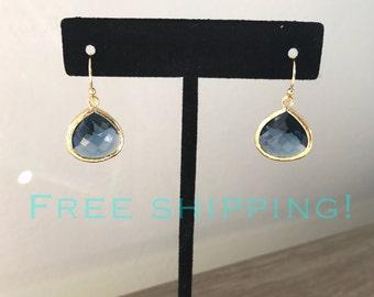 SHIPS FREE, Bridesmaid gift, Navy Blue and gold earring, bridesmaid earring, bridesmaid jewelry