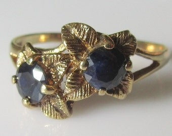 9ct Gold Sapphire Flowers Ring