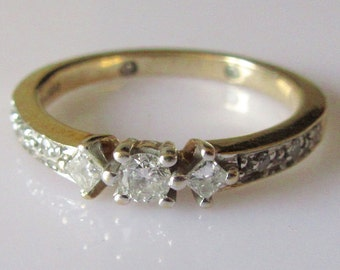 9ct Gold Diamond Past Present Future Engraved Ring