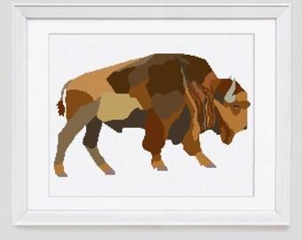 Bison cross stitch pattern, cross stitch pattern, native american cross stitch pattern, buffalo counted cross stitch pattern