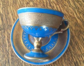 Original Arnart Creation Porcelain China Blue Gold Teacup and Saucer Set Japan