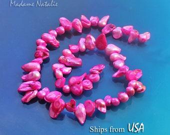 "Hot Pink Freshwater Baroque Pearl Beads Strand 15"" (48pc), Irregular Pink Dyed Pearl Teardrop Beads, Dark Pink Pearls, Grade D Pearl Beads"