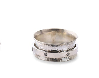 Sterling Silver spinner ring with Swarowski Zirconia/ Diamonds upgrade option available