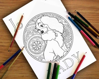 Coloring Pages Disney Lady Gift For Kids Zentangle