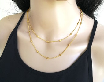 Double Strand Necklace, Double Satellite Necklace, Dainty Gold Necklace, Delicate Gold Necklace, Gold Layer Necklace, Layering Necklace