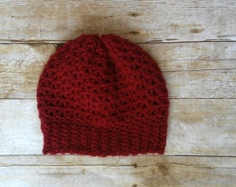 Burgundy Slouchy beanie - slouchy hat - winter hat - winter beanie - gifts for her - gift ideas