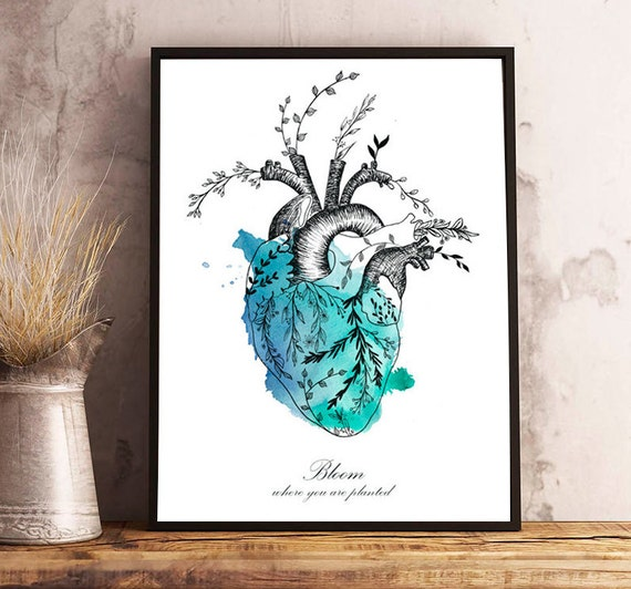 Floral HEART watercolor,anatomy,flowers,bloom where you are planted,quote,modern decoration,wall art,drawing,illustration,original gift,love