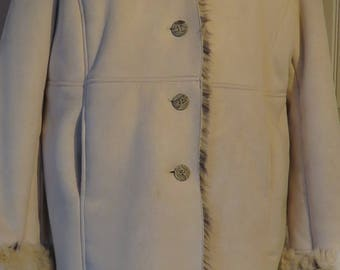 Vintage Faux FUR PENMAN's Plus, Shearling Type Coat, Lined & Trimmed with Faux Fur, Size 3X (#5)