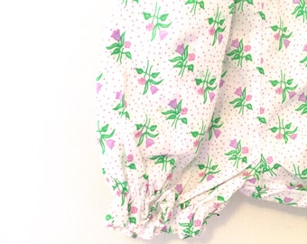 Vintage Polka-Dotted Floral Baby Bloomers, Tulip Bloomers, Size 18m