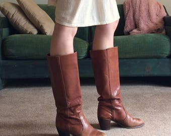 70s Tall Leather Boots/Size 7.5