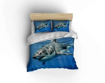 Great White Shark duvet covers, home decor,bedding, comforter covers, bedroom decor shark bedding,white tip sharks,great white.Tiger sharks.