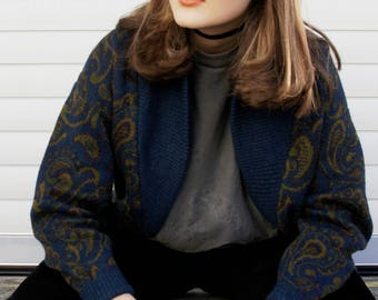Vintage 80s Oversize Knit Cardigan Vest Jumper One Size