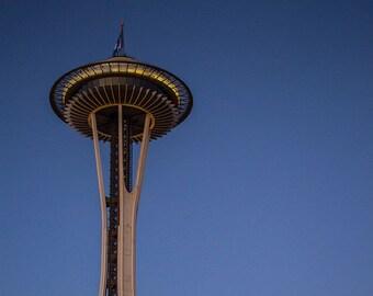 Space Needle Moon at Dusk, Seattle, WA