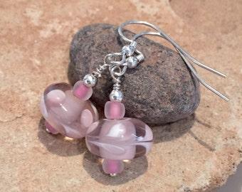 Pretty pink lampwork glass drop earrings, sterling silver earrings, dangle earrings, gift for her, gift for wife, everyday earrings
