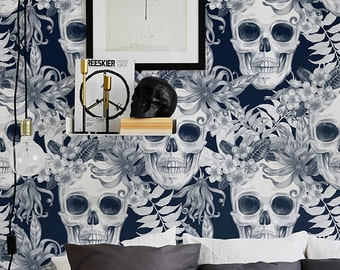 Hibiscus and Skull Wallpaper, Removable Wallpaper, Fern Wallpaper, Wall Sticker, Fern Wall Decal, Skull Adhesive Wallpaper, 090