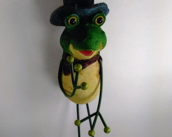 """Ceramic Frog With Hat And Bandana Stands 15.5"""" Tall In Your Garden/Part Of His Hat Is Broken Off /Priced Accordingly/Made In China  N"""