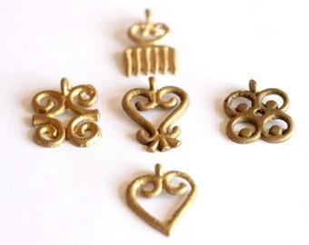 Adinkra pendant, African Jewelry, Sankofa, Dwennimmen, Duafe, Mate Masie, Akoma, Ashanti, Ghana Jewelry, Lost Wax Brass, African Pendant