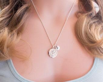 Silver st christopher necklace, st christopher pendant, st christopher jewellery, protection necklace, sisters necklace, SPSTIN0117