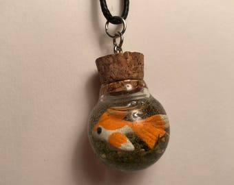 Polymer Clay Fish Bowl Necklace