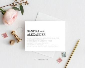 SANDRA SUITE || Printable Wedding Suite, Invitation, Details, RSVP, Chic, Simple, Modern, Black and White