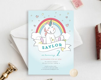 Printable Kid's Birthday Party Invitation | Girl, Unicorns, Sweet, Hearts, Fun, Rainbows