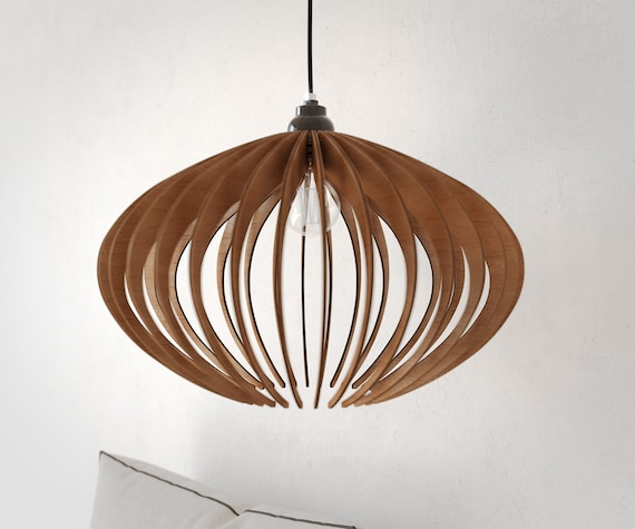 Wood pendant light wood chandelier wood ceiling lamp modern for Wood pendant chandelier