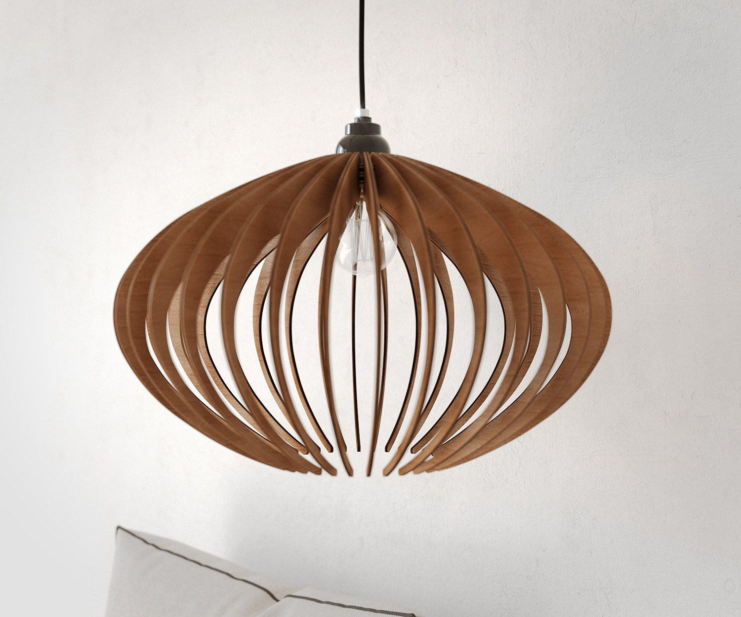 Suspension bois lustre en bois lampe de plafond en bois for Suspension bois luminaire
