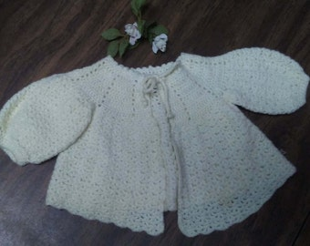 CROCHET BABY SWEATER, Off white,Vintage