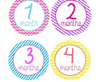 Baby Monthly Onesie Stickers, Girly Onesie Stickers, Colorful Onesie Stickers, Monthly Baby Stickers, Chevron, Stripes, Girlie