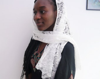 White Rectangle Floral Print Head Covering Scarf
