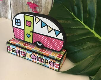 Happy Camper, Camping decor, RV Decor, Camper Decorations, Summer Decor, Wood Decor, Home Decor, Camper Decor, Handcrafted, Shelf Sitter