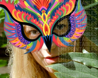 Owl Mask Colorful Bird Printable DIY Carnival Costume Mardi Gras Paper Masks Animal Halloween Masquerade Party Birthday Adults Children Kids