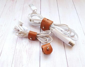 3pcs Personalised Leather Cord Organiser -  Earphones Holder - Cable Organiser - Earbuds Holder - Wire Organizer - Anniversary gifts for men