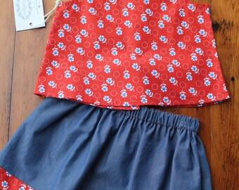 Orange Floral Top & Skirt Set