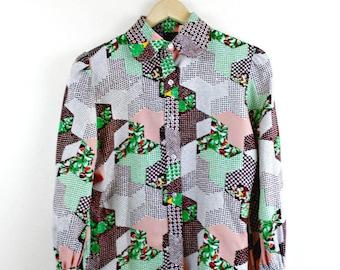 70's Vintage Shirt Multi Print Small 70's Blouse Fashion Retro 70's Vintage Clothing