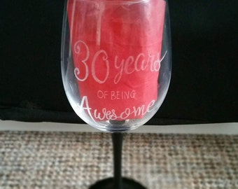 Personalised Wine Glass - Birthday WIne Glass - Hand Engraved - Hand Painted