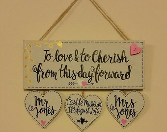 Personalised Wedding Plaque - To love & to cherish from this day forward