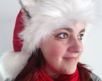 SOLD Husky Ears Santa Hat (Luxury Faux Fur) (AVAILABLE made to order)