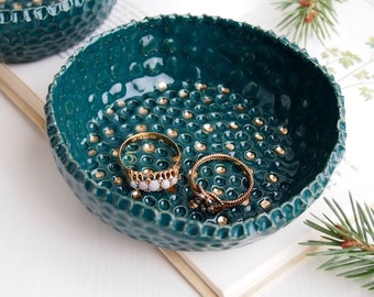 Handmade Teal ceramic ring dish + gold dots, jade jewellery dish, catchall, greenery ring dish, green ring dish, ring holder, jade dish