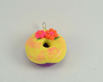 Rapunzel Tangled Inspired Adorable Donut necklace/keychain charm. Polymer clay donut-VVsGrotto