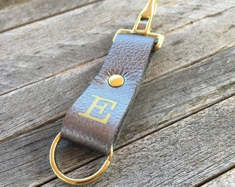 Keychain Clip, Gunmetal Leather Key Fob, Monogrammed Keychain, Key Holder Leather, Brass Keyring, Personalised Keyring