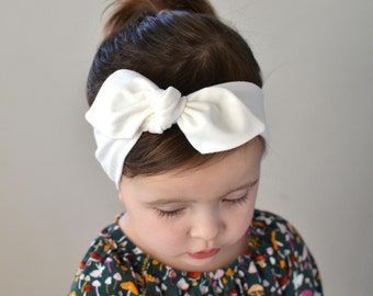 Cream Bow, Baby Headband, Baby Girl Headwrap, Bow Headbands, Baby Bow, Headband, Baby Turban