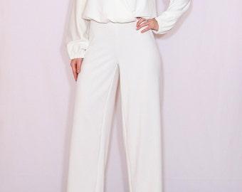 Off white jumpsuit women Ivory jumpsuit Long sleeve jumpsuit wide leg jumpsuit Wrap top